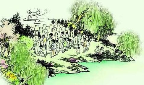 """晋文公当下便将老柳树赐名为""""清明柳"""",并且当场折下几枝柳条戴在头上"""