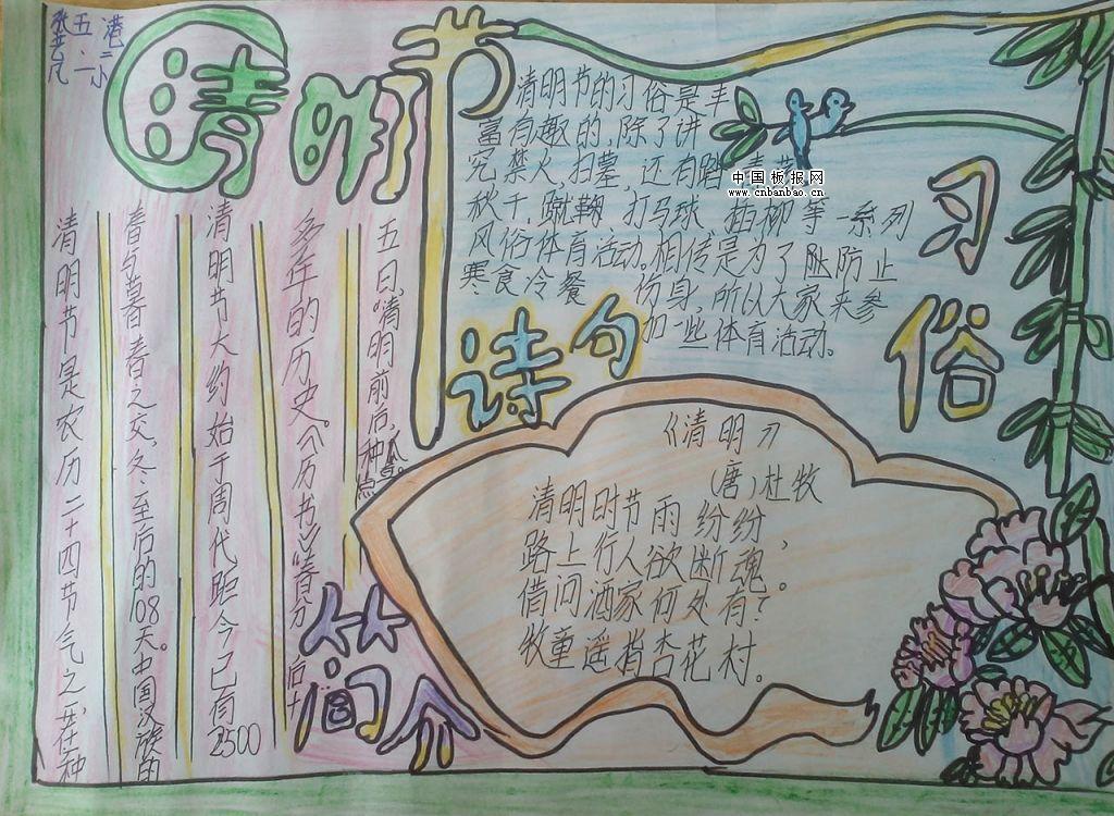 清明节假期期间很多老师会让同学们做清明节手抄报,清明节手抄报内容