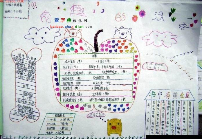《有趣的汉字》手抄报版面设计