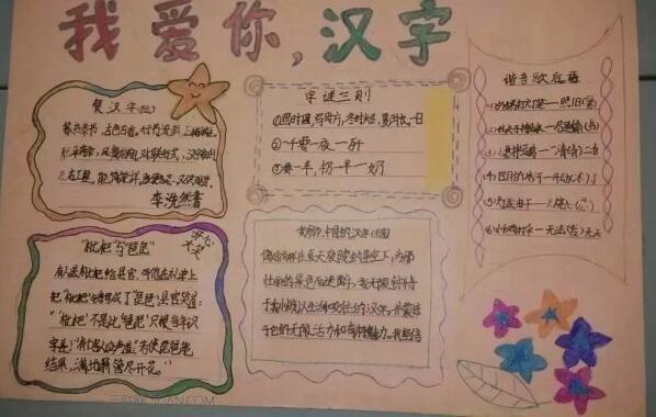 练习大汇总                      《我爱你汉字》手抄报图片为大家介