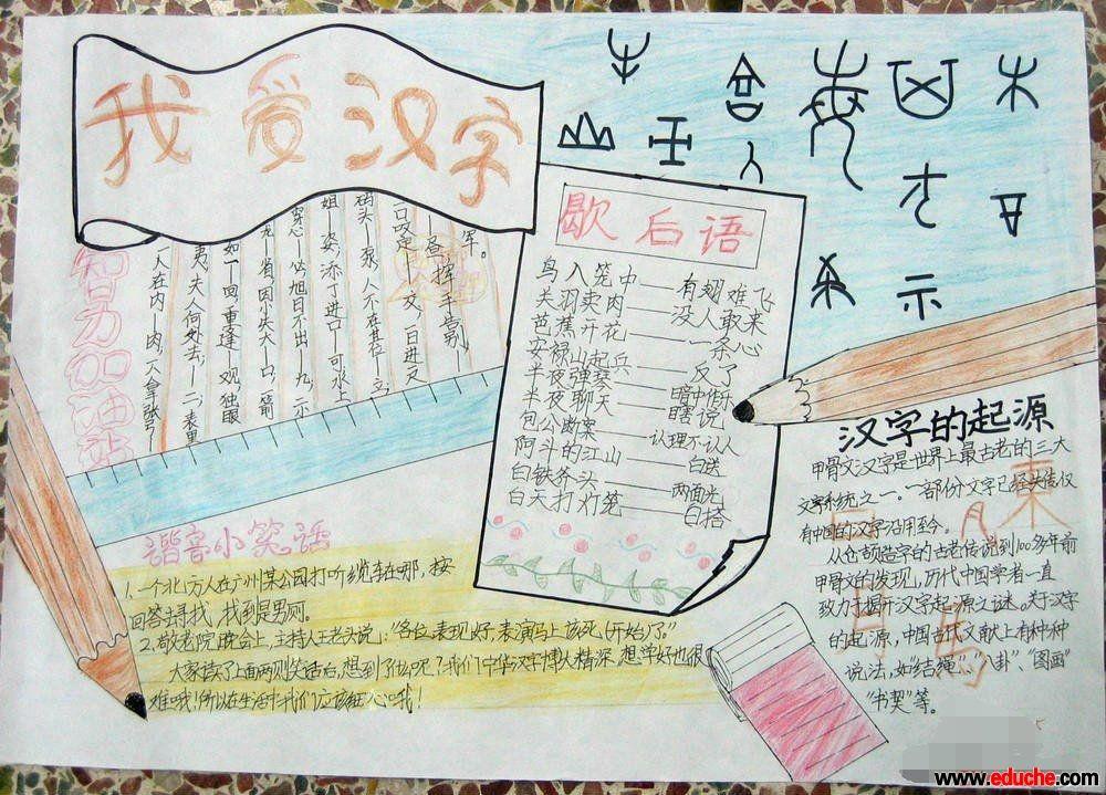 《我爱你汉字》手抄报资料