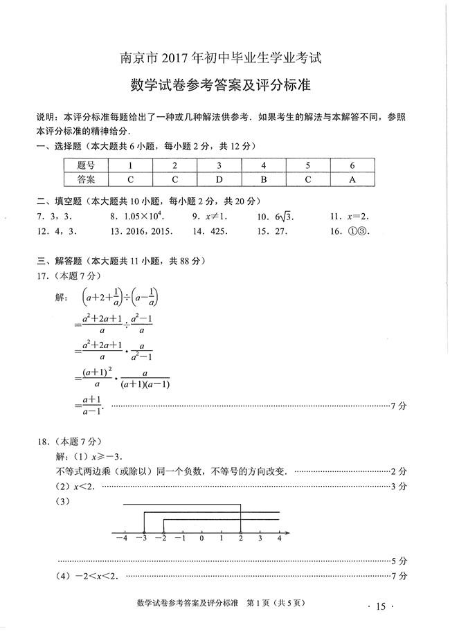 2017年南京中考数学试题试卷答案,2017年南京中考数学试卷,中考数学试卷