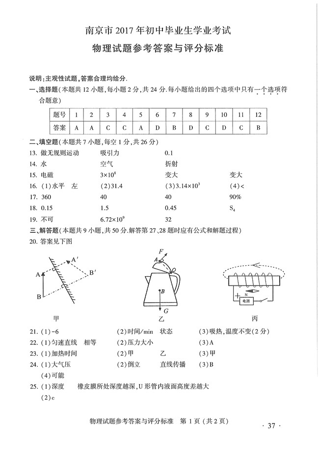 2017年南京中考物理语试卷答案,2017年南京中考物理试卷,中考物理试卷