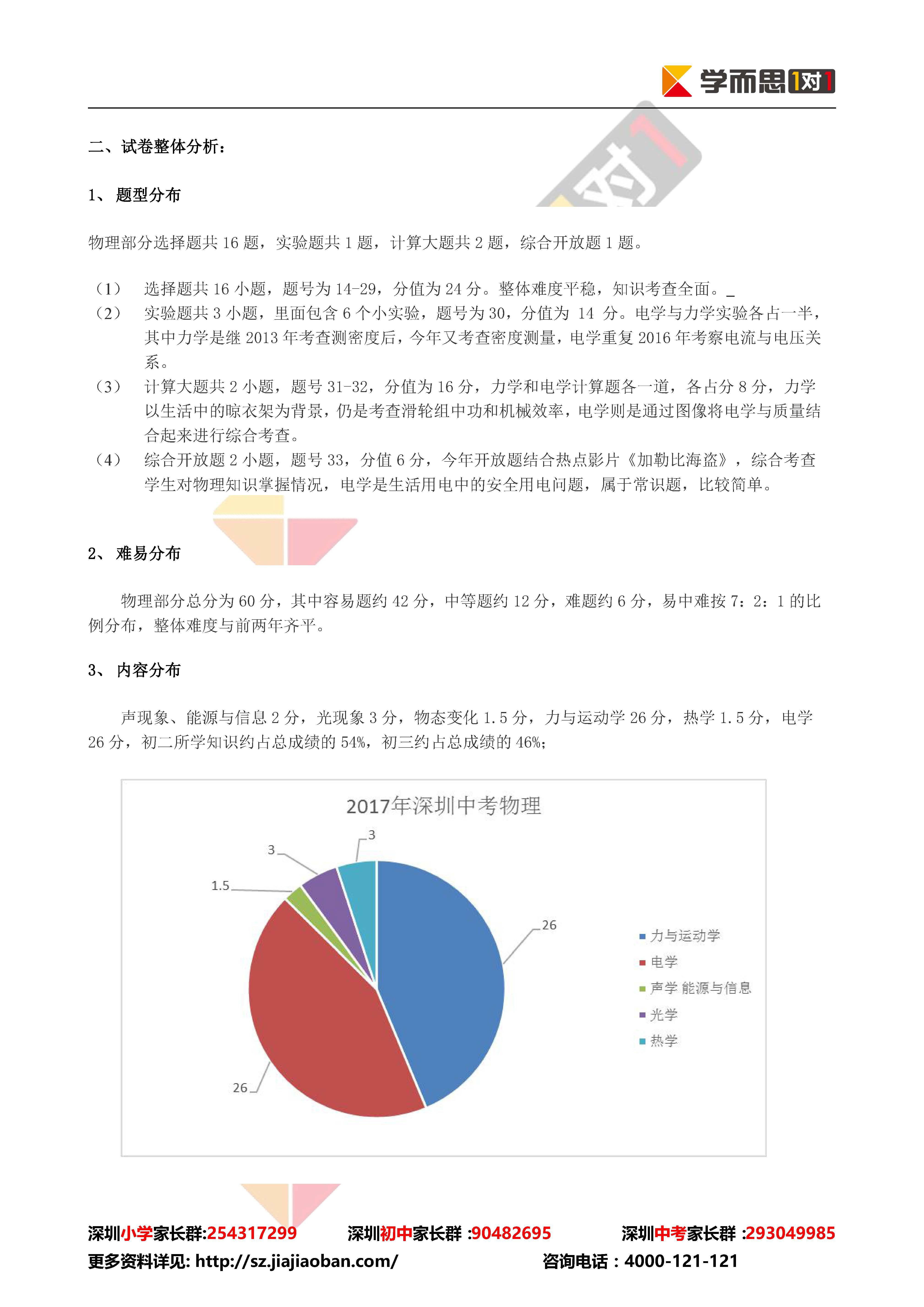 2017年深圳中考物理试卷分析