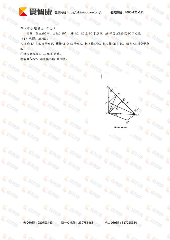 成都市武侯区2016――2017学年度下期期末学业质量测试数学试卷