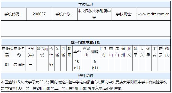 2017海淀区中央民族大学评价中学计划中招(一高中信息的大连附属图片