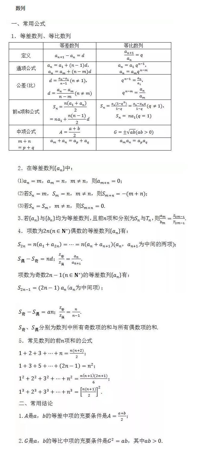高中数学公式大全:数列图片