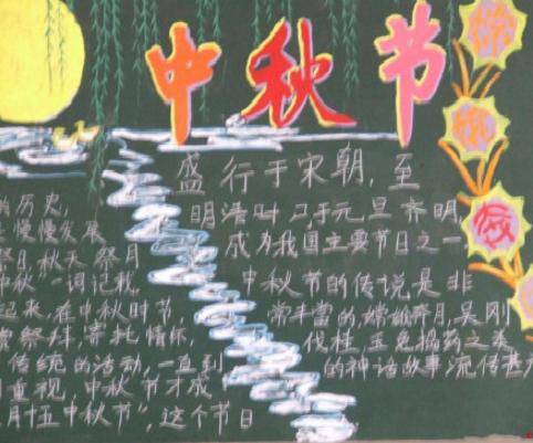 2017二年级中秋节黑板报内容