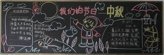 中秋节,中国传统节日为每年的农历八月十五日,八月为秋季的第二个月,古时称为仲秋,因此民间称为中秋,又称秋夕,八月节,八月半,月夕,月节,又因为这一天月亮圆满,象征团圆,又称团圆节。 以上就是小编特意为大家整理的2017一年级关于中秋节的黑板报,同学们如果还有什么问题需要咨询的话,欢迎大家关注我们的爱智康栏目,那里有专业的老师为大家解答。