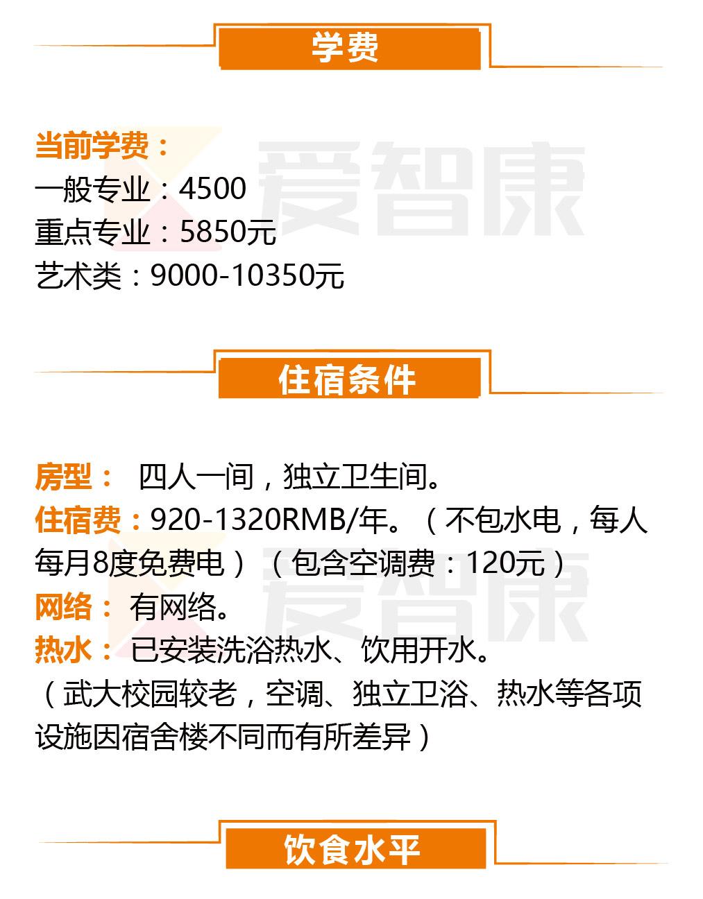 武汉大学学费及住宿