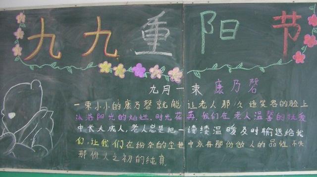 一年级关于重阳节的黑板报