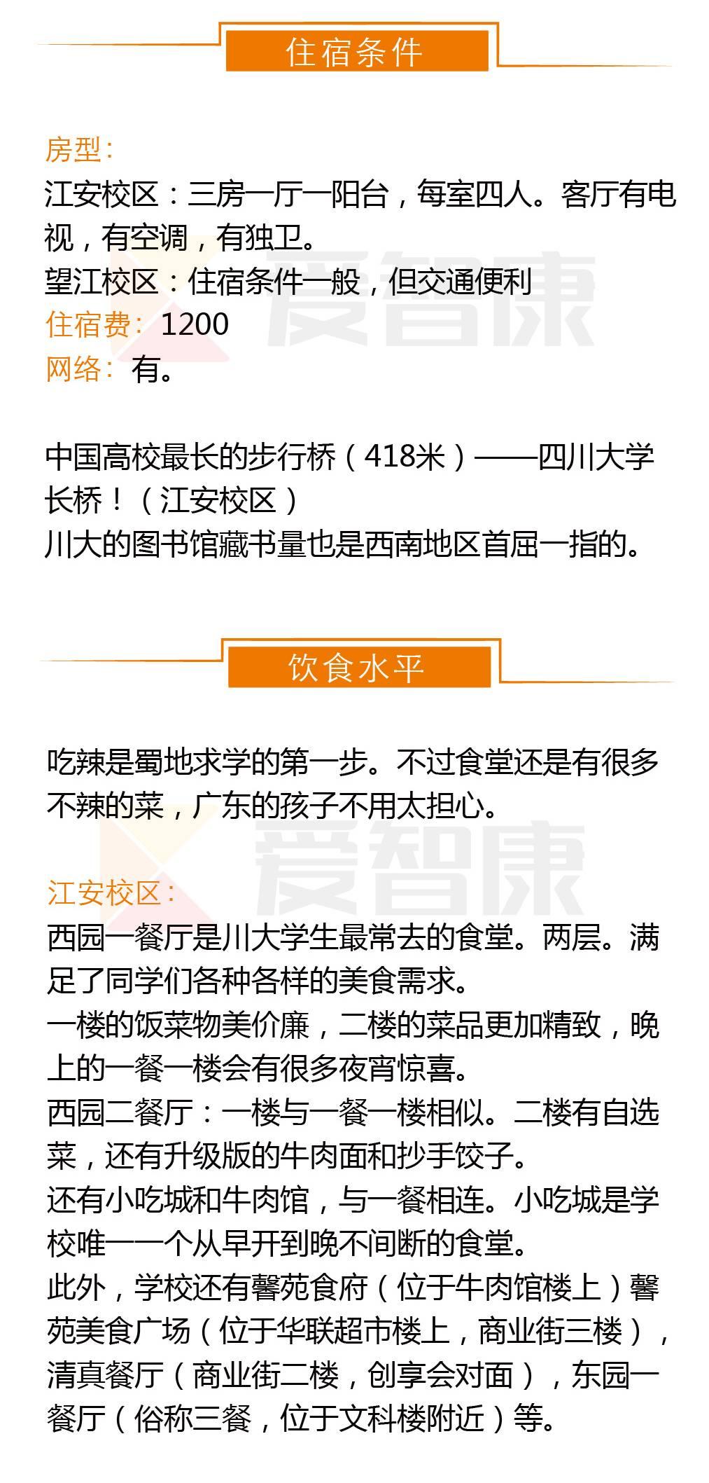 四川大学住宿条件及饮食水平