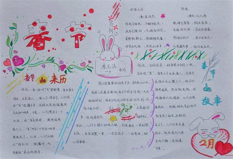 2018关于春节由来的手抄报八年级图片