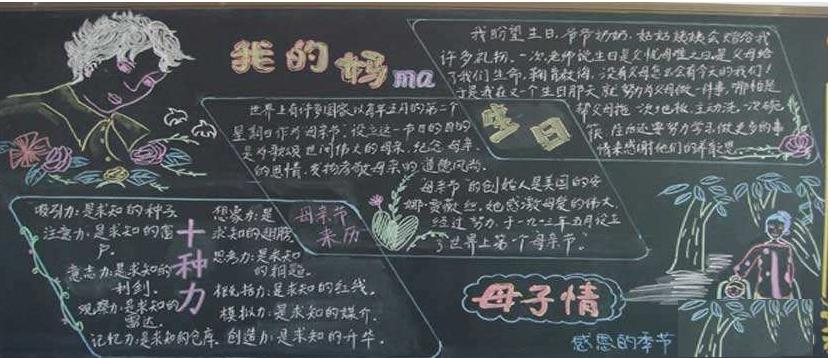 关于母爱的黑板报图片
