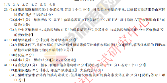 深圳2018高考一模理综试卷及答案