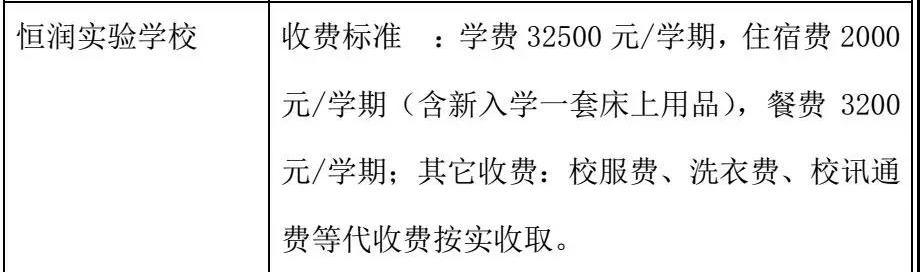 2018恒润实验学校学费收费标准!