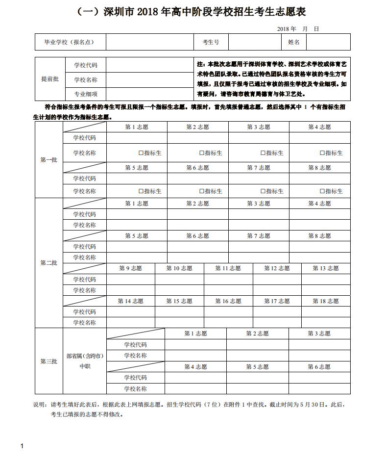 深圳市2018年高中阶段学校招生考生志愿表