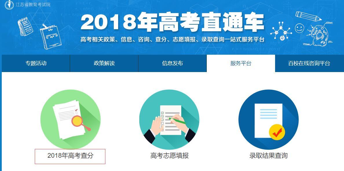 江苏2018年高考成绩查询入口