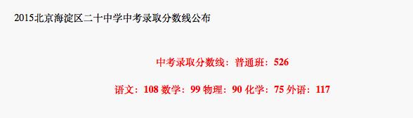 2018年北京海淀区二十中学中考分数线