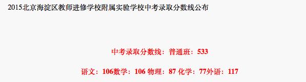 2018年北京海淀区教师进修学校附属实验学校中考分数线