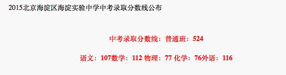 2018年北京海淀区海淀实验中学中考分数线