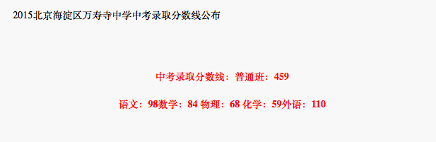 2018年北京海淀区万寿寺中学中考分数线