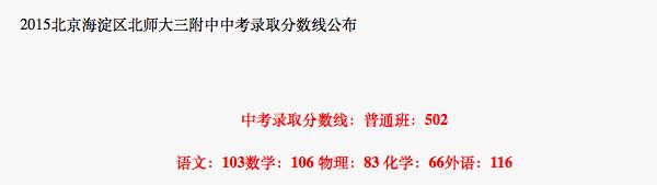 2018年北京海淀区北师大三附中中考分数线