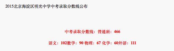 2018年北京海淀区明光中学中考分数线