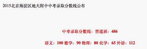 2018年北京海淀区地大附中中考分数线