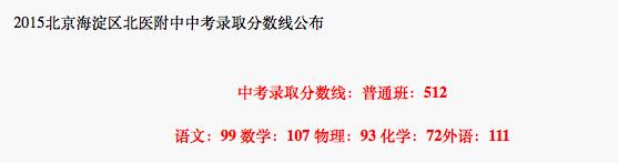 2018年北京海淀区北医附中中考分数线