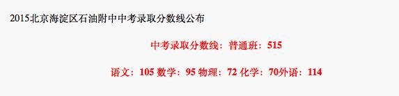 2018年北京海淀区石油附中中考分数线
