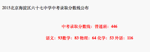 2018年北京海淀区六十七中学中考分数线