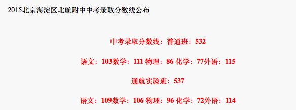 2018年北京海淀区北航附中中考分数线