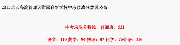2018年北京海淀区首师大附属育新学校中考分数线