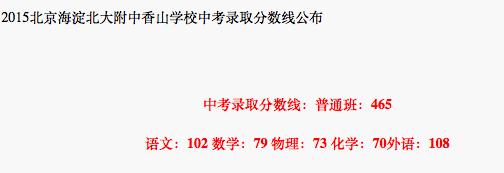 2018年北京海淀区北大附中香山学校中考分数线