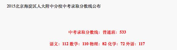 2018年北京海淀区人大附中分校中考分数线