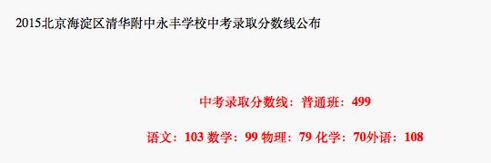 2018年北京海淀区清华附中永丰学校中考分数线