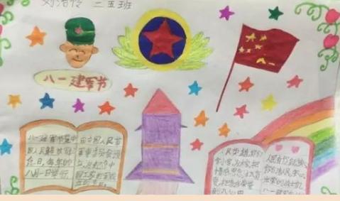 2018小学五年级关于八一建军节手抄报(1)图片