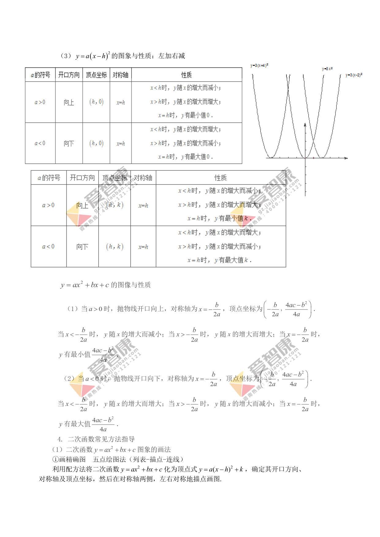 广州初三数学上学期知识点:二次函数