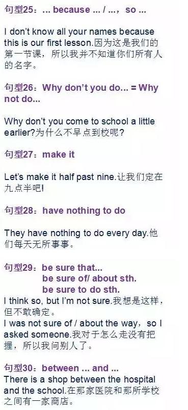 初中英语必背的30个核心句型
