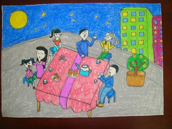 中秋节儿童画画作品图片