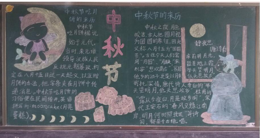 2018四年级中秋节黑板报内容