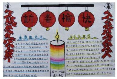 2019年关于春节由来的手抄报六年级图片