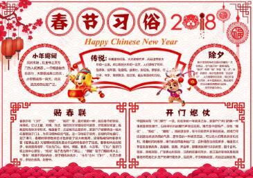 猪年快乐春节手抄报大全图片