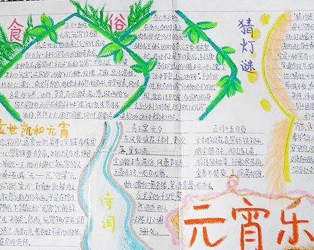 2019年六年级快乐元宵节手抄报图片
