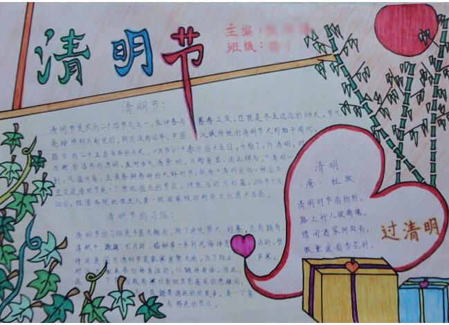 2019年初二年级清明节手抄报图片