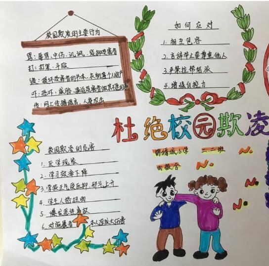 北京小学关于反对校园欺凌手抄报