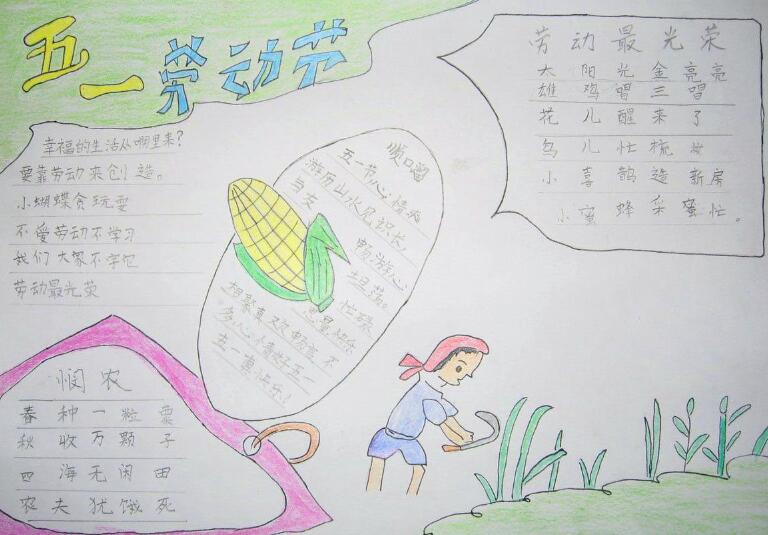 汇总丨2019劳动节小学五年级手抄报内容图片