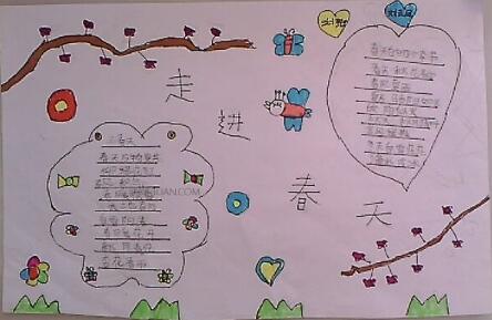 北京小学一年级关于春天手抄报图片