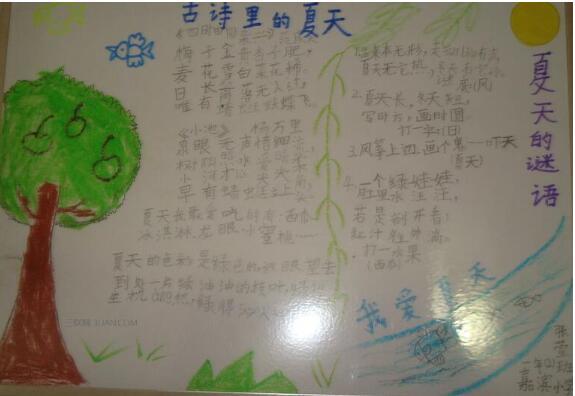 北京小学三年级关于夏天手抄报